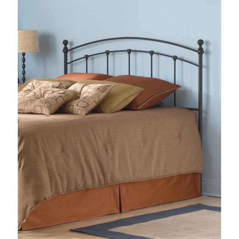 Fashion Bed Group Sanford Metal Headboard with Castings and Round Finial Posts - Matte Black Finish - Twin