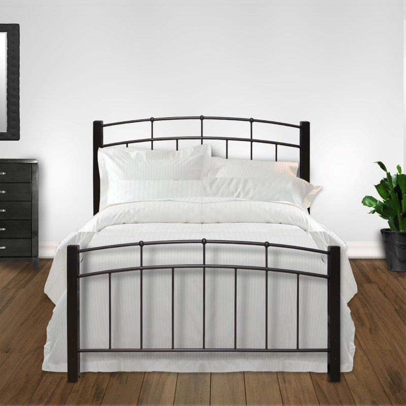 Fashion Bed Group Scottsdale Complete Bed with Metal Duo Panels and Dark Espresso Wooden Posts - Black Speckle Finish - Queen