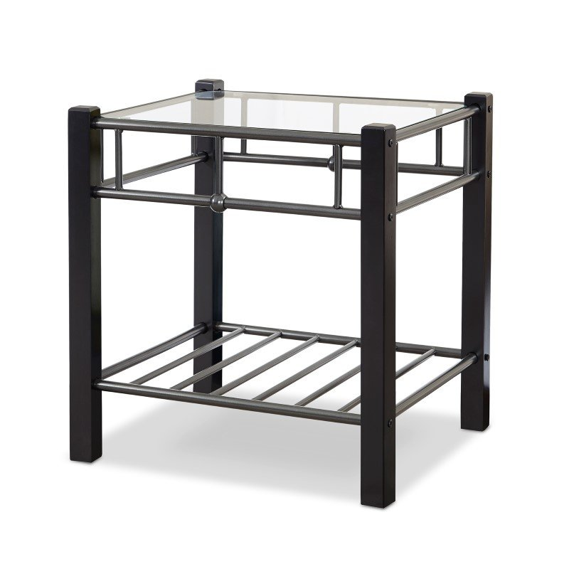 Fashion Bed Group Scottsdale Metal and Wood Nightstand with Glass Surface - Black Speckle Finish - Twin
