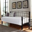 Fashion Bed Group Scottsdale Metal Daybed with Sloping Top Rails and Dark Espresso Wooden Posts - Black Speckle Finish - Twin