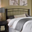 Fashion Bed Group Scottsdale Metal Headboard with Sloping Top Rails and Dark Espresso Wooden Posts - Black Speckle Finish - California King