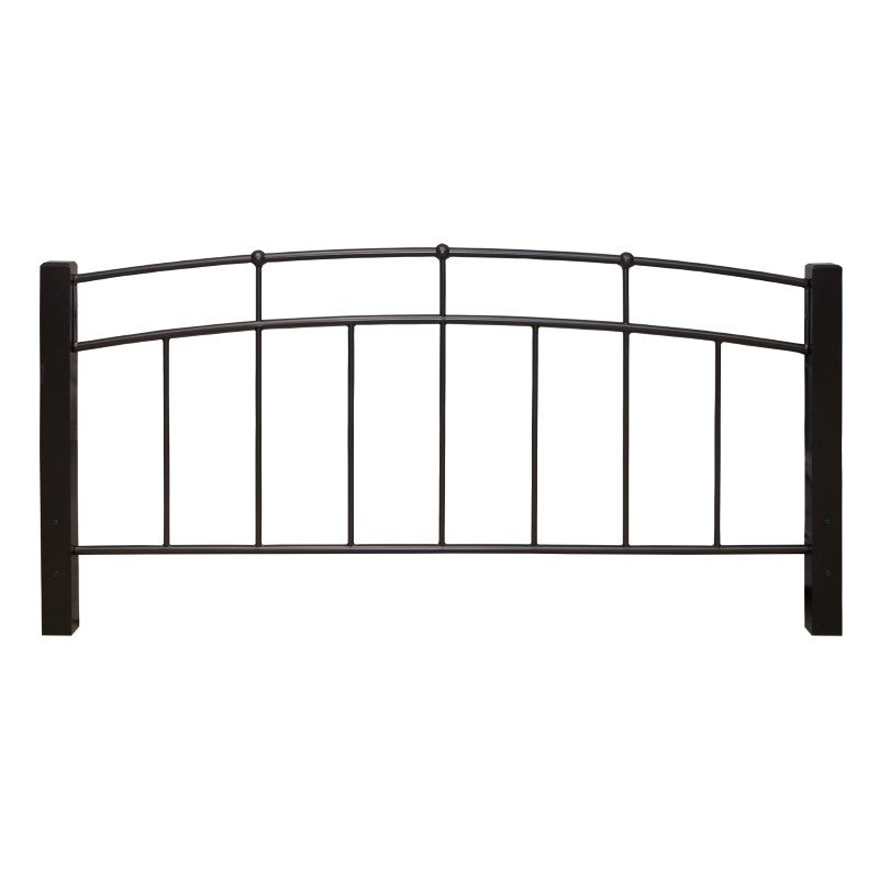 Fashion Bed Group Scottsdale Metal Headboard with Sloping Top Rails and Dark Espresso Wooden Posts - Black Speckle Finish - Full