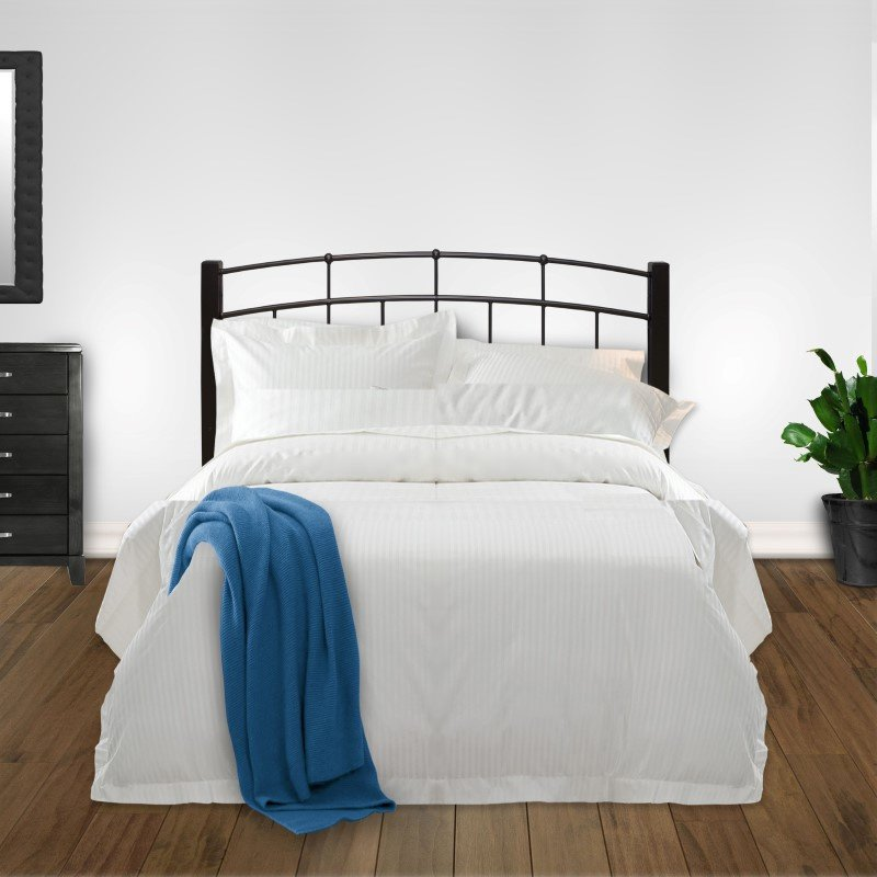 Fashion Bed Group Scottsdale Metal Headboard with Sloping Top Rails and Dark Espresso Wooden Posts - Black Speckle Finish - Queen