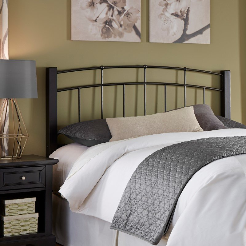Fashion Bed Group Scottsdale Metal Headboard with Sloping Top Rails and Dark Espresso Wooden Posts - Black Speckle Finish - Twin