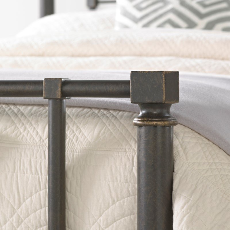 Fashion Bed Group Sheridan Complete Bed with Squared Metal Tubing and Geometric Design - Blackened Bronze Finish - California King
