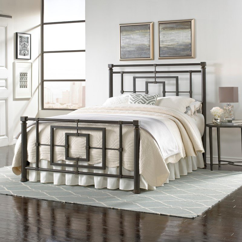 Fashion Bed Group Sheridan Complete Bed with Squared Metal Tubing and Geometric Design - Blackened Bronze Finish - Full