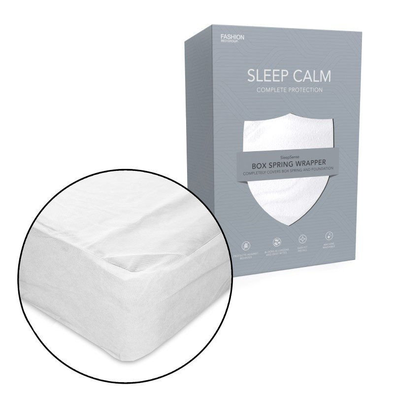 Fashion Bed Group Sleep Calm Nonwoven Zippered Box Spring Encasement with Bed Bug Defense - Full