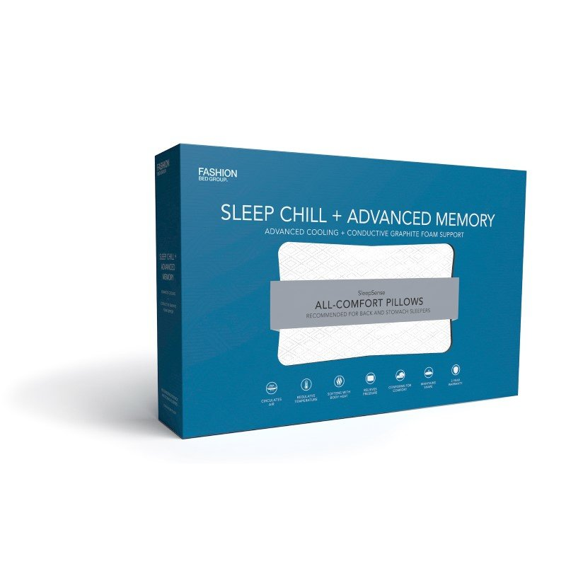 Fashion Bed Group Sleep Chill - Advanced Cooling Memory Pillow with Conductive Graphite Foam Support - King/California King