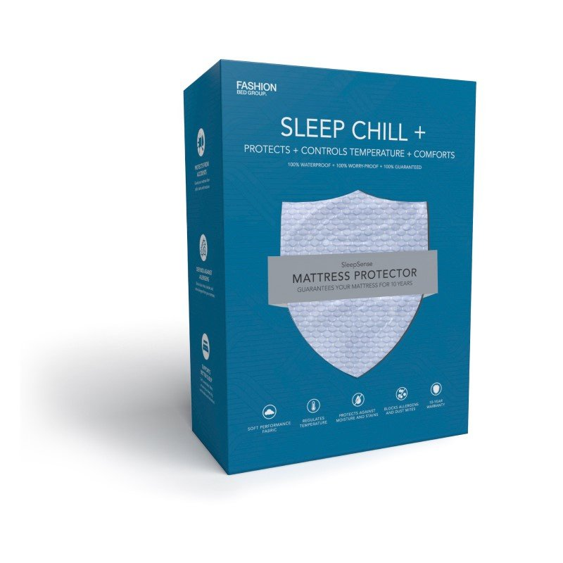 Fashion Bed Group Sleep Chill - Crystal Gel Mattress Protector with Cooling Fibers and Blue 3-D Fabric - Full