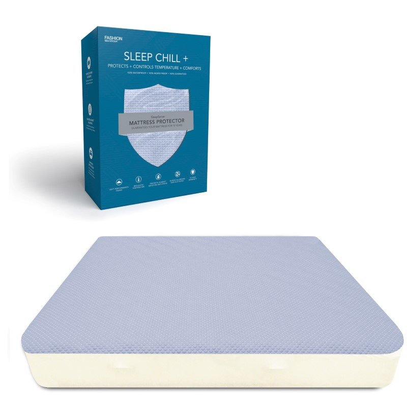 Fashion Bed Group Sleep Chill - Crystal Gel Mattress Protector with Cooling Fibers and Blue 3-D Fabric - Queen