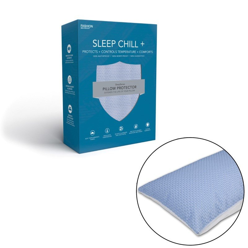 Fashion Bed Group Sleep Chill - Crystal Gel Pillow Protector with Cooling Fibers and Blue 3-D Fabric - Standard/Queen