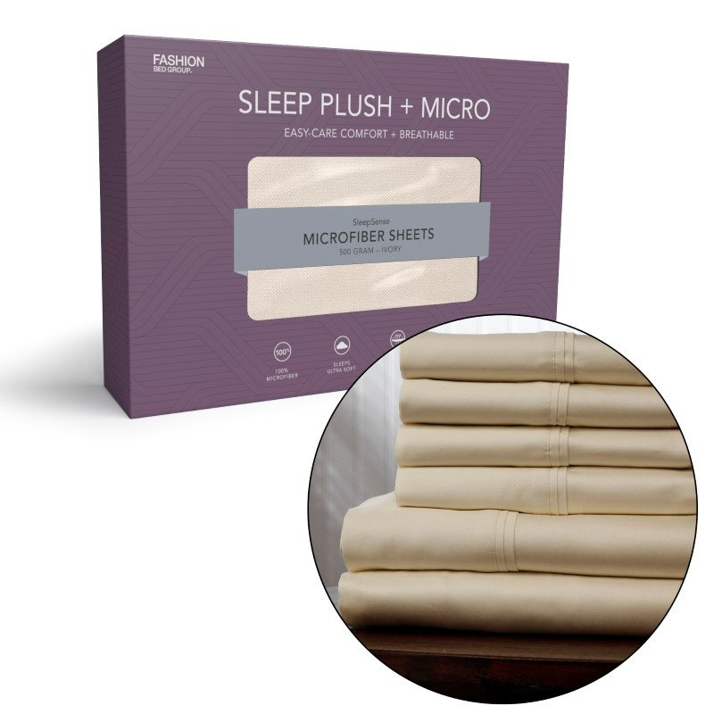 Fashion Bed Group Sleep Plush Beige 3-Piece Microfiber 500g Bed Sheet Set with Wrinkle Free Performance Fabric - Twin XL