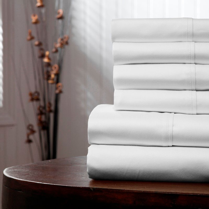 Fashion Bed Group Sleep Plush White 4-Piece Microfiber 500g Bed Sheet Set with Wrinkle Free Performance Fabric - King