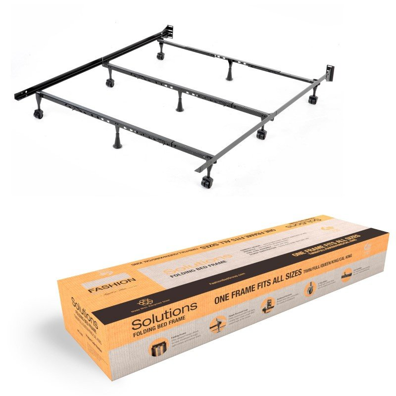 Fashion Bed Group Solutions Compact Universal Folding Bed Frame with Tool-Free Assembly - Black Powder Coat Finish - Twin - California King