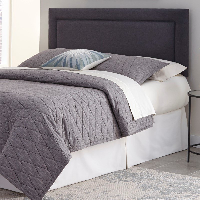Fashion Bed Group Somerset Adjustable Headboard with Upholstered Panel and Piping Trim Design - Granite Finish - Full/Queen