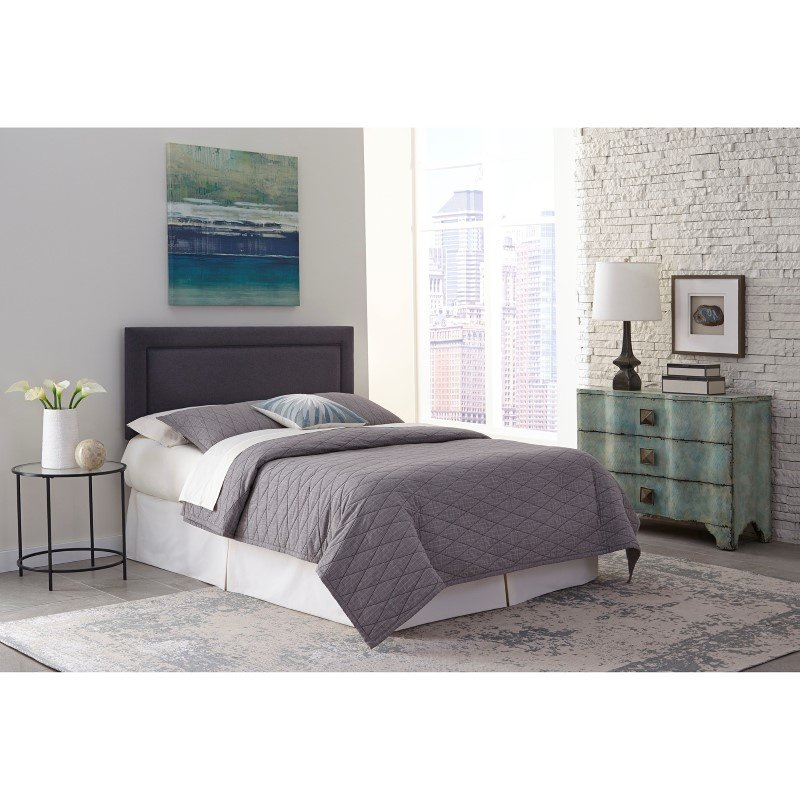 Fashion Bed Group Somerset Adjustable Headboard with Upholstered Panel and Piping Trim Design - Granite Finish - King/California King
