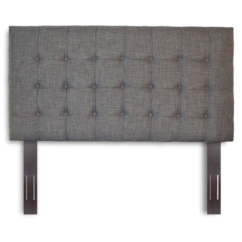 Fashion Bed Group Strasbourg Upholstered Adjustable Headboard Panel with Solid Wood Frame and Button-Tufted Design - Charcoal Finish - Full/Queen