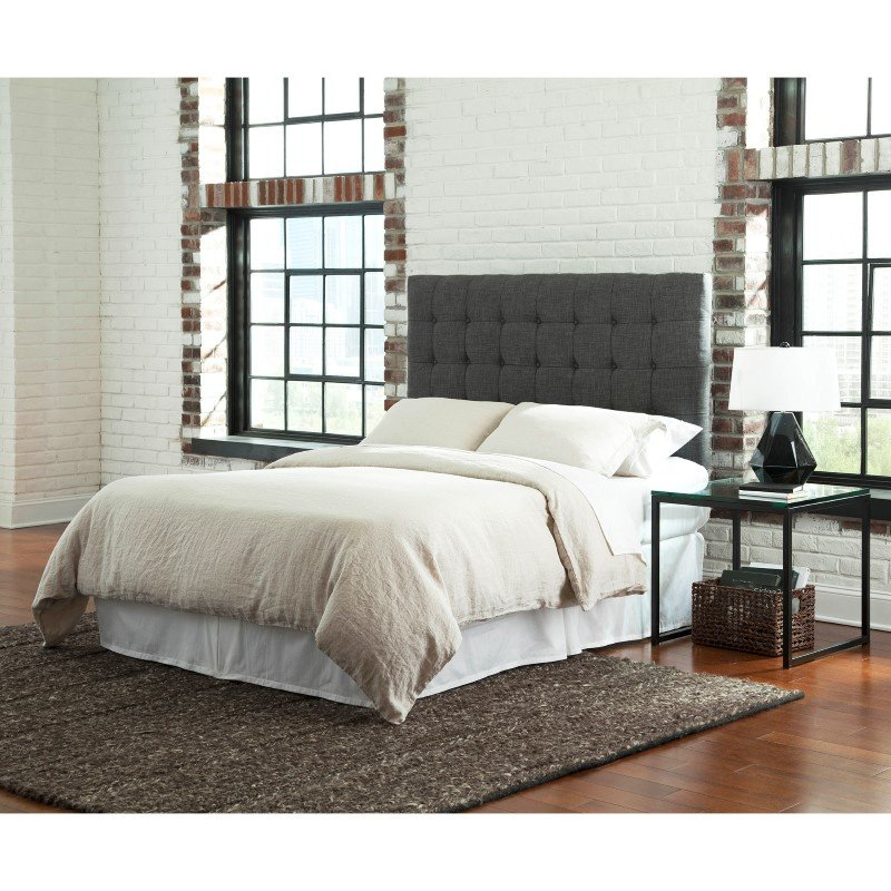 Fashion Bed Group Strasbourg Upholstered Adjustable Headboard Panel with Solid Wood Frame and Button-Tufted Design - Charcoal Finish - King/California King