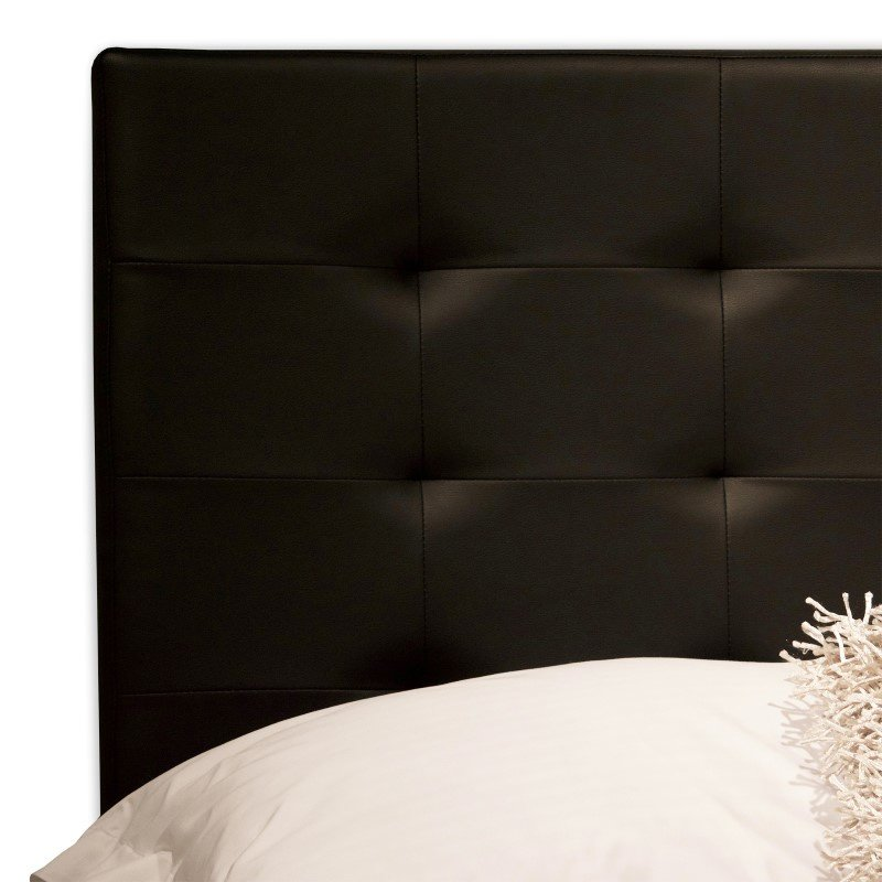 Fashion Bed Group Sullivan Platform Bed with Faux Leather Upholstered Frame and Button-Tufting - Black Onyx Finish - California King