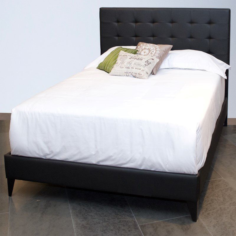 Fashion Bed Group Sullivan Platform Bed with Faux Leather Upholstered Frame and Button-Tufting - Black Onyx Finish - Queen