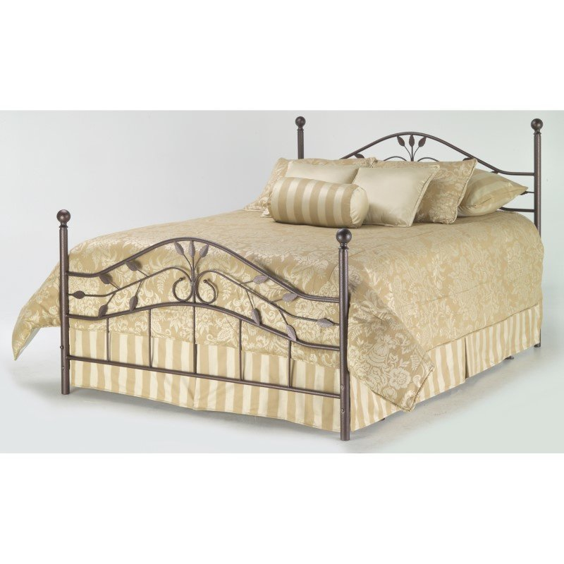 Fashion Bed Group Sycamore Complete Bed with Arched Metal Panels and Leaf Pattern Design - Hammered Copper Finish - California King
