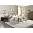 Fashion Bed Group Sycamore Complete Bed with Arched Metal Panels and Leaf Pattern Design - Hammered Copper Finish - Full