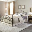 Fashion Bed Group Sycamore Complete Bed with Arched Metal Panels and Leaf Pattern Design - Hammered Copper Finish - King