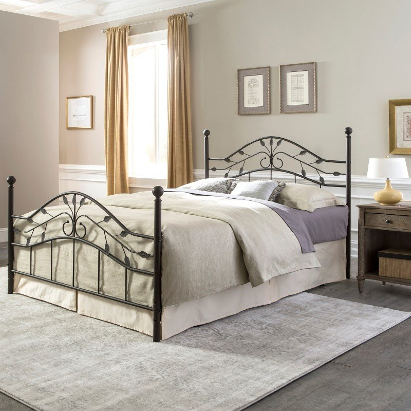 Fashion Bed Group Sycamore Complete Bed with Arched Metal Panels and Leaf Pattern Design - Hammered Copper Finish - Twin