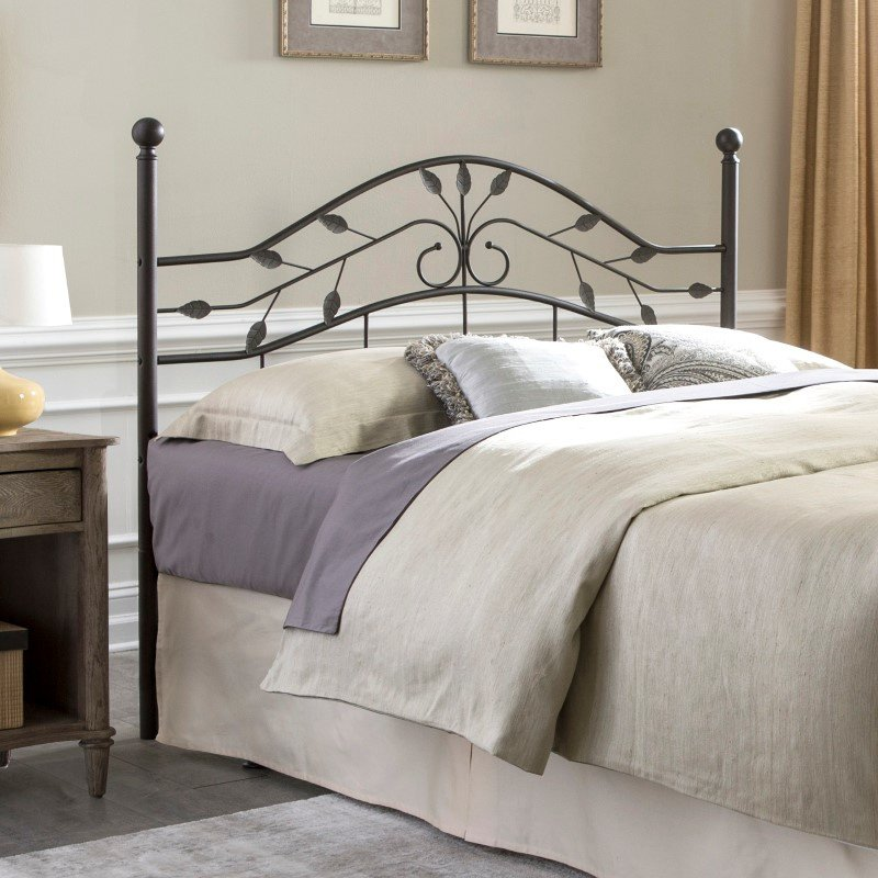 Fashion Bed Group Sycamore Headboard with Arched Metal Panel and Leaf Pattern Design - Hammered Copper Finish - King