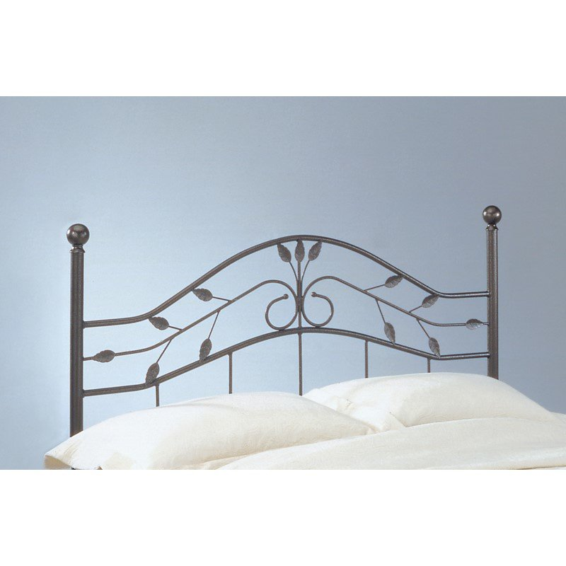 Fashion Bed Group Sycamore Headboard with Arched Metal Panel and Leaf Pattern Design - Hammered Copper Finish - Twin
