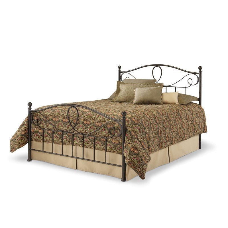 Fashion Bed Group Sylvania Complete Bed with Metal Curved Grill Design and Canopy Compatibility - French Roast Finish - California King