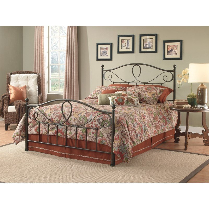 Fashion Bed Group Sylvania Complete Bed with Metal Curved Grill Design and Canopy Compatibility - French Roast Finish - Full