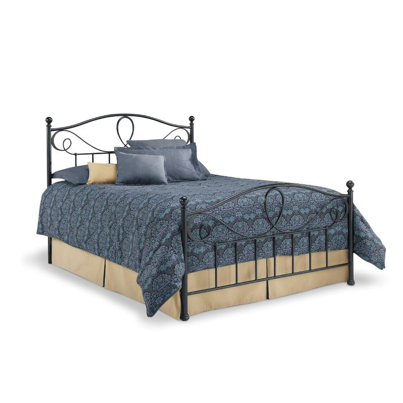 Fashion Bed Group Sylvania Complete Bed with Metal Curved Grill Design and Canopy Compatibility - French Roast Finish - Queen