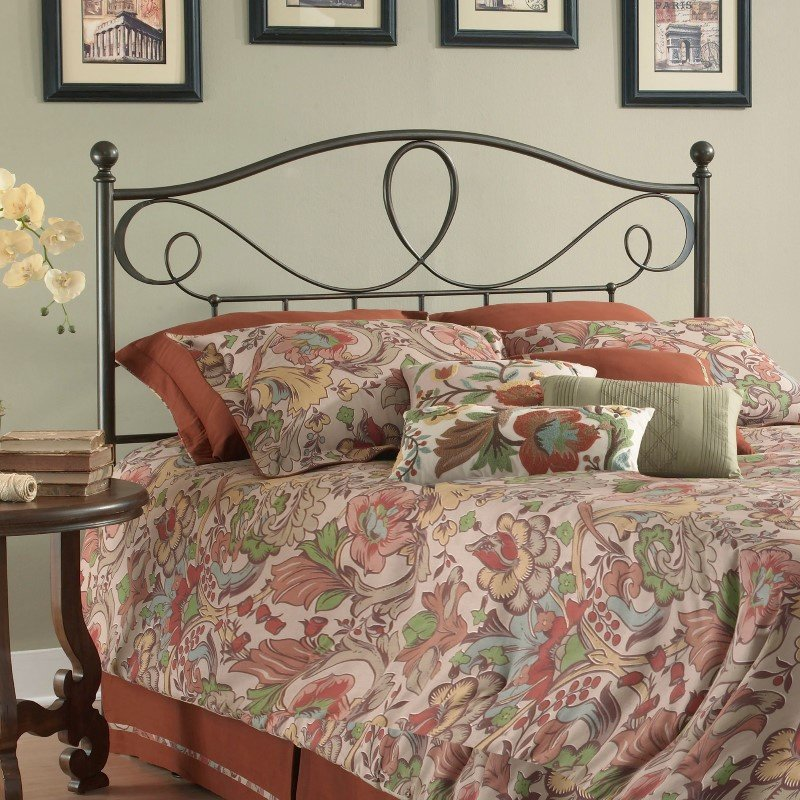 Fashion Bed Group Sylvania Metal Headboard with Curved Grill Design and Finial Posts - French Roast Finish - California King