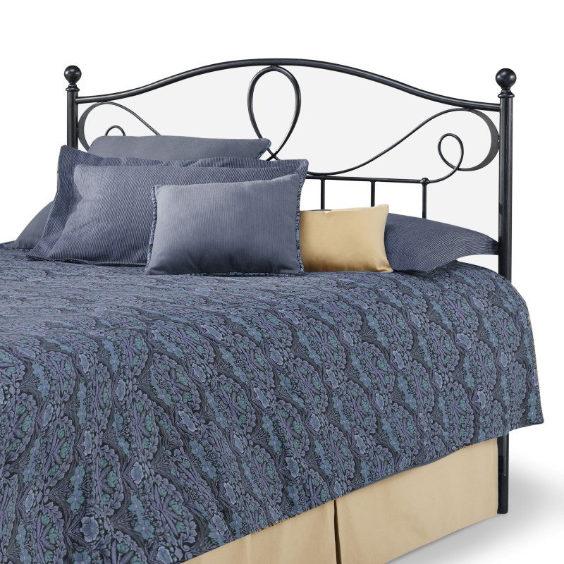 Fashion Bed Group Sylvania Metal Headboard with Curved Grill Design and Finial Posts - French Roast Finish - Queen