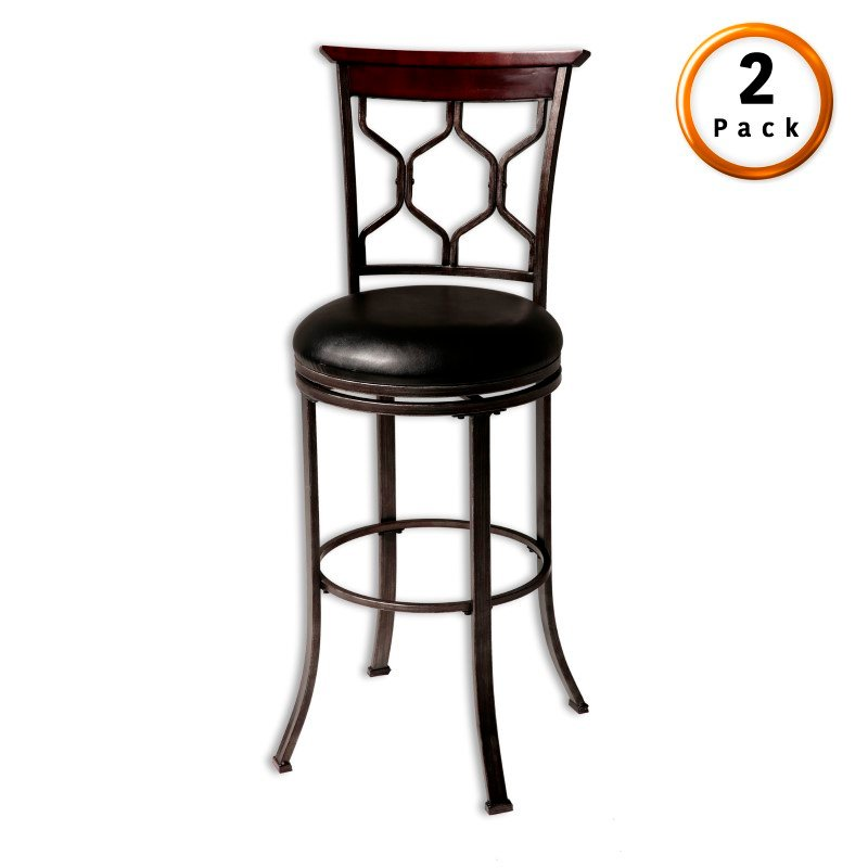 Fashion Bed Group Tallahassee Metal Barstool with Black Upholstered Swivel-Seat and Heritage Silver Frame Finish - 2-Pack - 30-Inch
