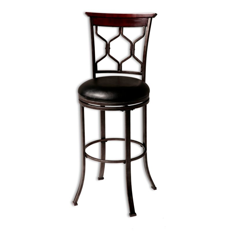 Fashion Bed Group Tallahassee Metal Counter Stool with Black Upholstered Swivel-Seat and Heritage Silver Frame Finish - 26-Inch