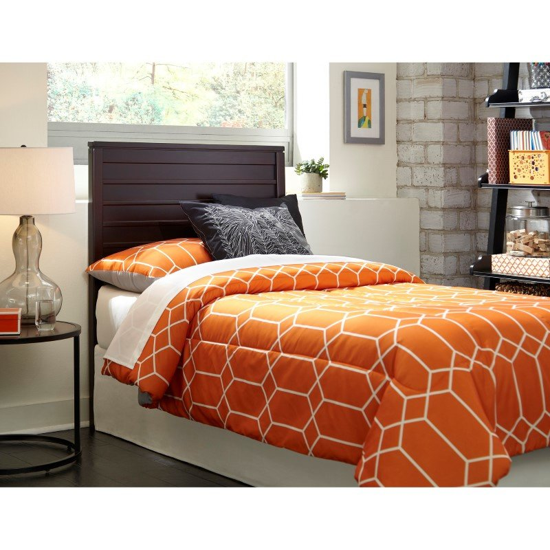 Fashion Bed Group Uptown Wooden Headboard Panel with Horizontal Board Design - Espresso Finish - Twin