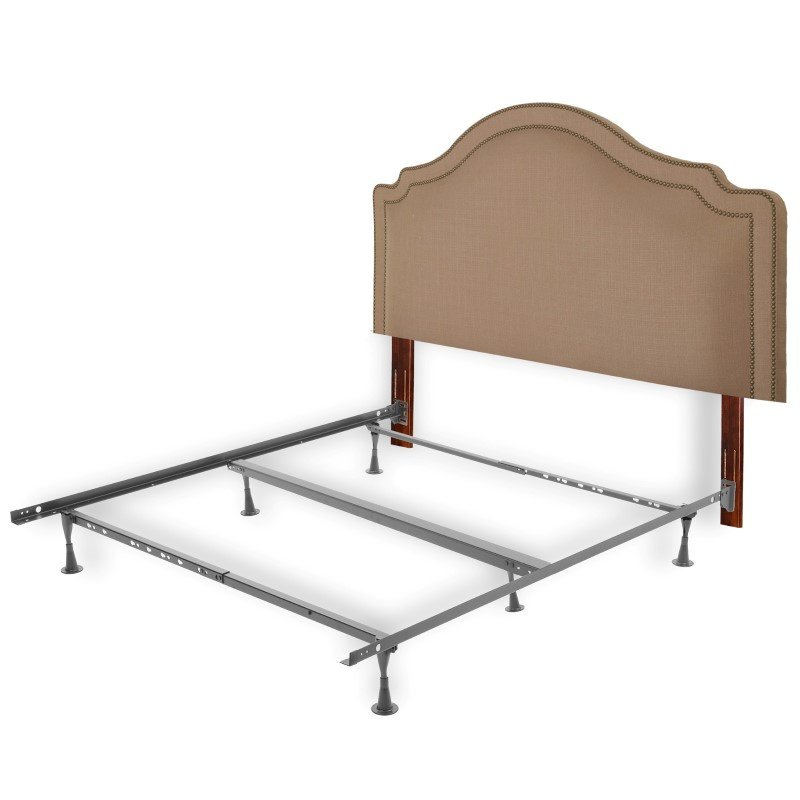 Fashion Bed Group Versailles Complete Bed with Upholstered Headboard and 45G Steel Support Frame - Brown Sugar Finish - Twin