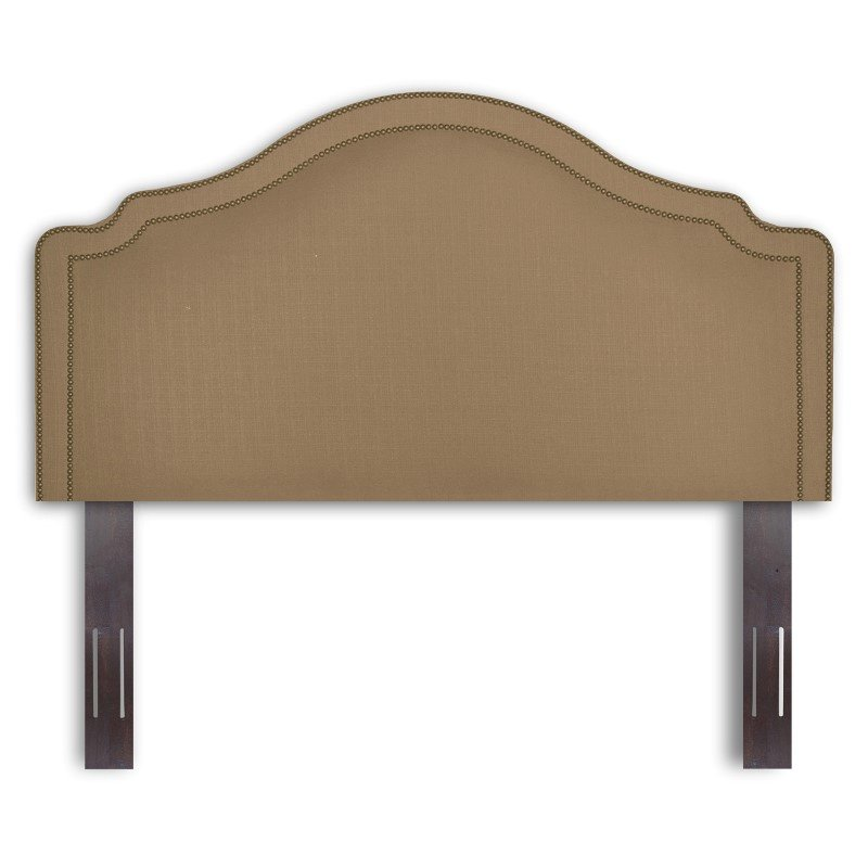 Fashion Bed Group Versailles Upholstered Adjustable Headboard Panel with Solid Wood Frame and nail head Trim Design - Brown Sugar Finish - Full/Queen