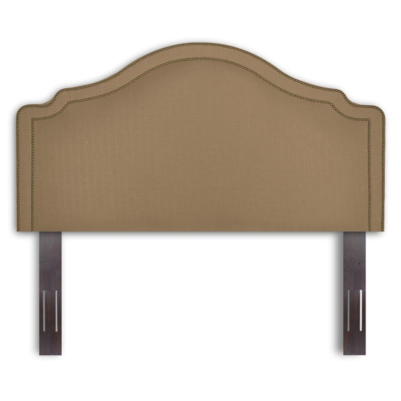 Fashion Bed Group Versailles Upholstered Adjustable Headboard Panel with Solid Wood Frame and nail head Trim Design - Brown Sugar Finish - King/California King