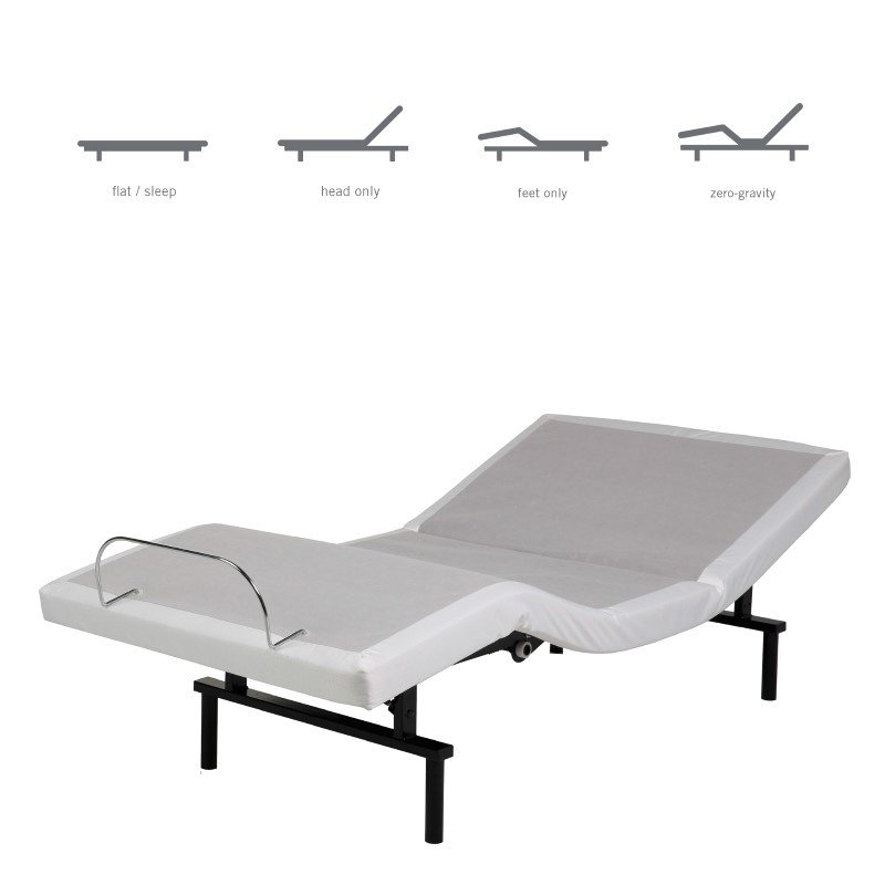 Fashion Bed Group Vibrance Adjustable Bed Base with Head and Foot Articulation - White Finish - Queen