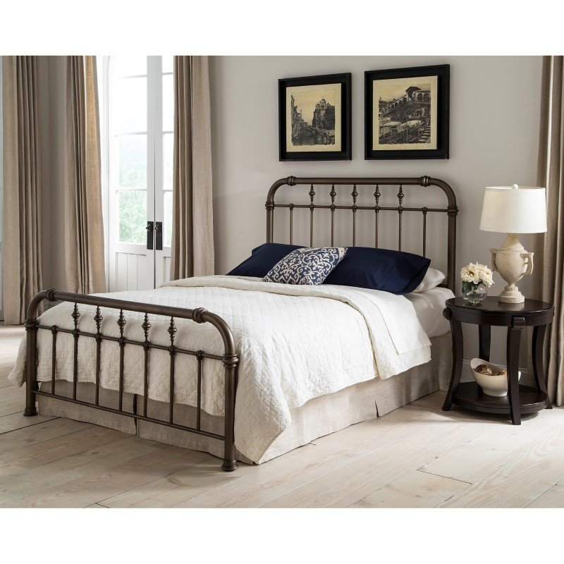 Fashion Bed Group Vienna Complete Bed with Metal Duo Panels and Carved Finials - Aged Gold Finish - Queen
