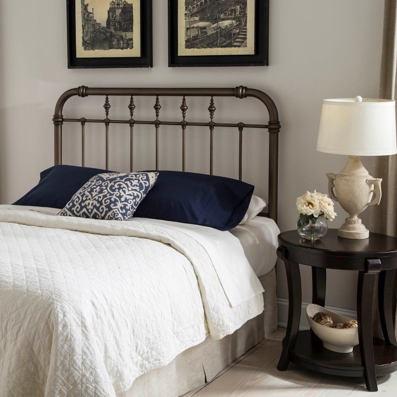 Fashion Bed Group Vienna Headboard with Metal Spindle Panel and Carved Finials - Aged Gold Finish - King