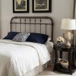 Fashion Bed Group Vienna Headboard with Metal Spindle Panel and Carved Finials - Aged Gold Finish - Queen