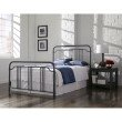 Fashion Bed Group Wellesly Complete Bed with Metal Spindled Grills and Rounded Corners - Marbled Navy Finish - Full