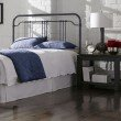 Fashion Bed Group Wellesly Metal Headboard with Straight Top Rail and Rounded Corners - Marbled Navy Finish - King