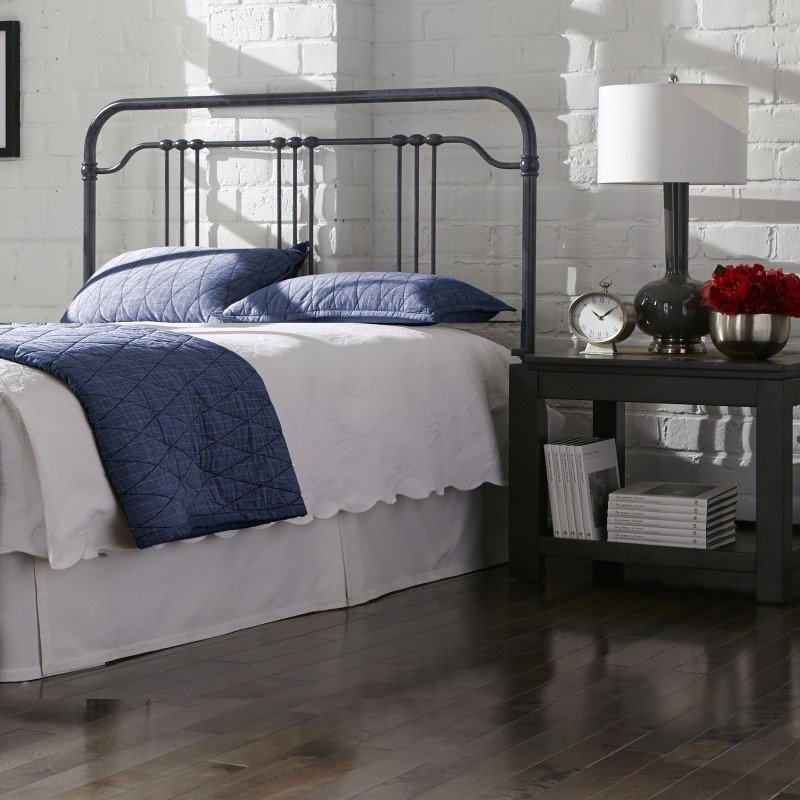 Fashion Bed Group Wellesly Metal Headboard with Straight Top Rail and Rounded Corners - Marbled Navy Finish - Queen