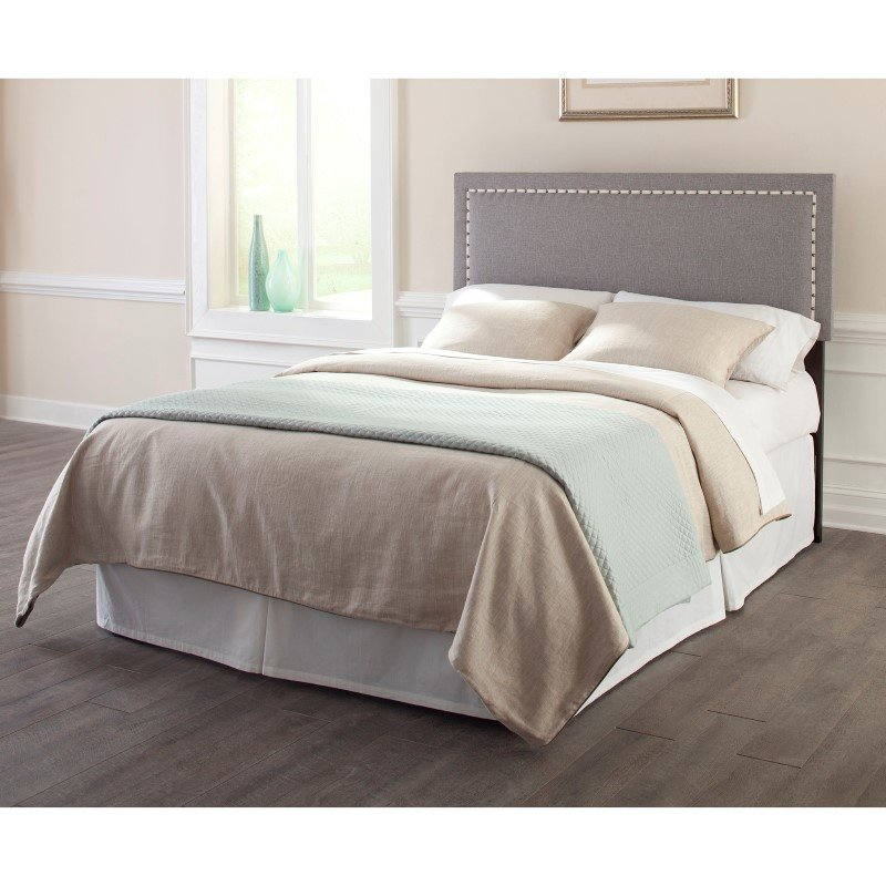 Fashion Bed Group Wellford Upholstered Adjustable Headboard with Contrast Tape and Nail head Trim - Jitterbug Ash Finish - Full/Queen
