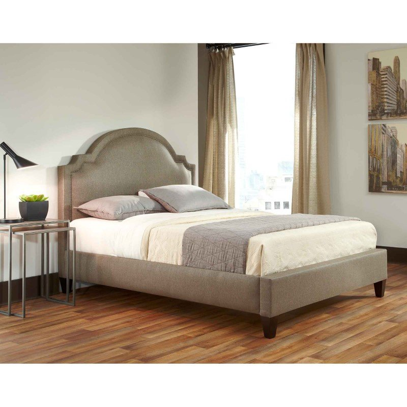 Fashion Bed Group Westminster Complete Bed with Upholstered Exterior and Brass Finished Nail head Trim - Stoked Pewter Finish - King